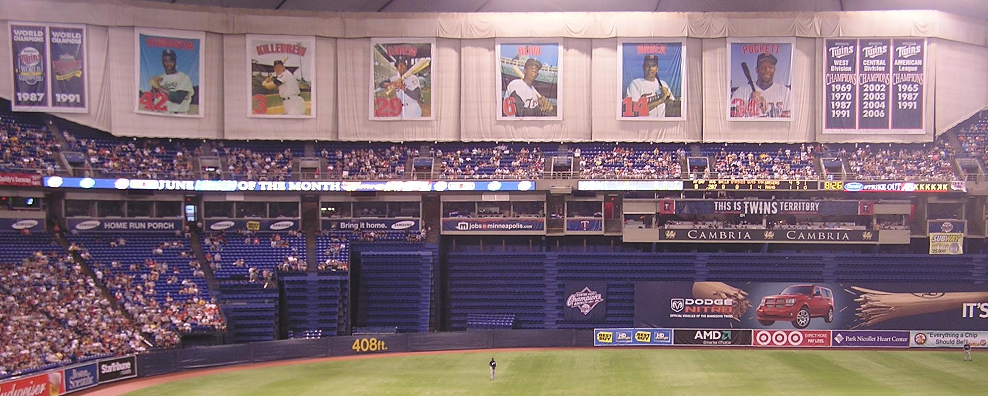 The retired numbers at the Metrodome