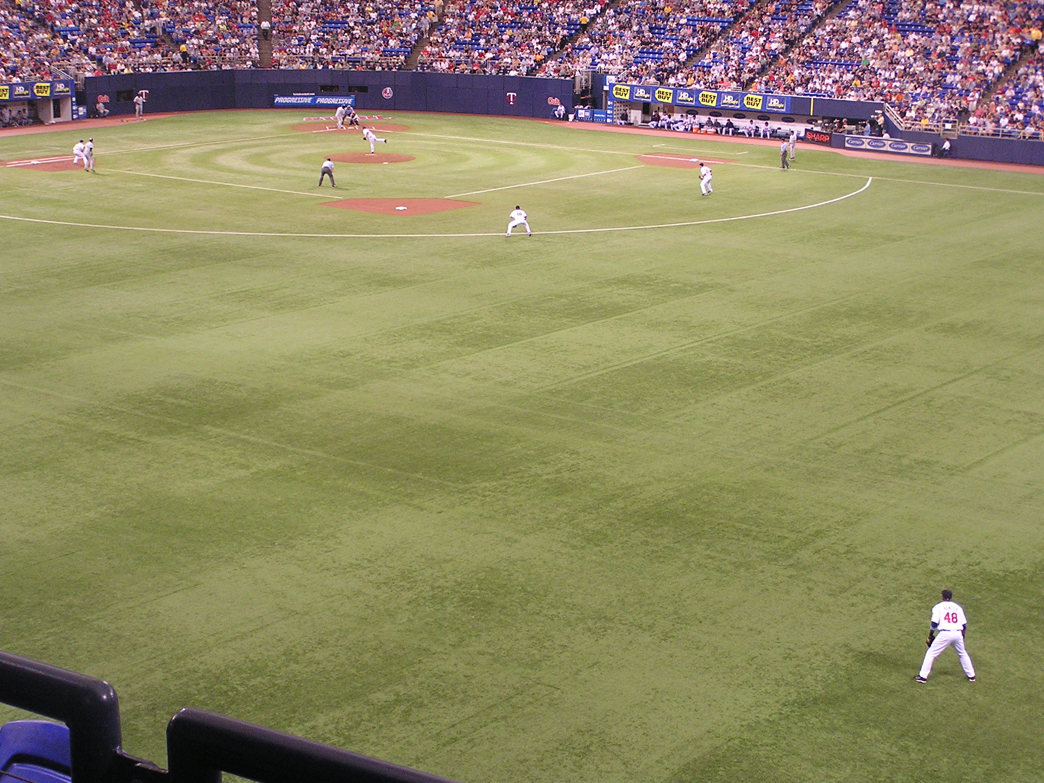 Torii Hunter's view - the Metrodome, Minneapolis